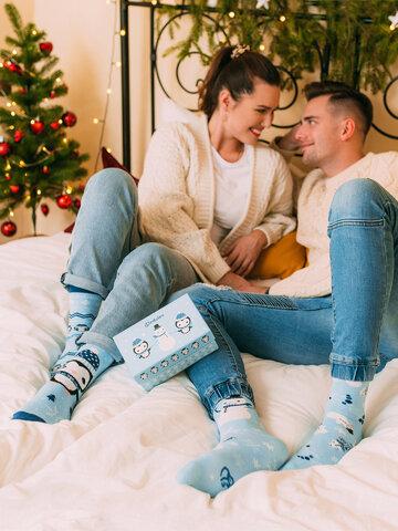Sleva Dárková krabička teplých ponožek Tučňák a sněhulák