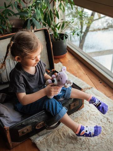Foto Veselé dětské kotníkové ponožky Kouzelný zajíček