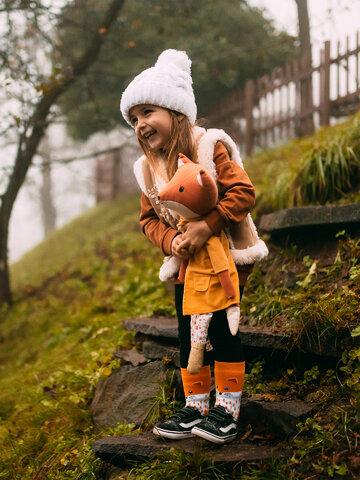 Foto Lustige warme Socken für Kinder Flauschiger Fuchs