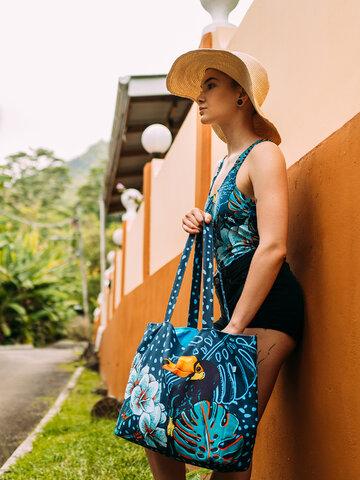 ZNIŻKA Wesoła torba plażowa Tropikalna dżungla