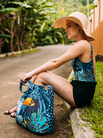 Pre dokonalý a originálny outfit Wesoła torba plażowa Tropikalna dżungla