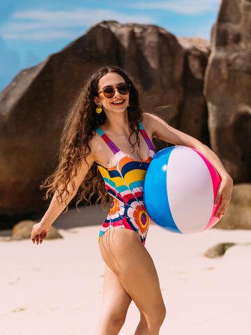 Geschenktipp Lustiger einteiliger Badeanzug für Frauen Spritzende Kreise