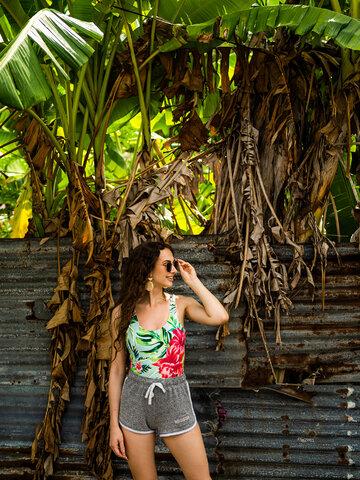 Gift idea Women's One-piece Swimsuit Tropical Flowers