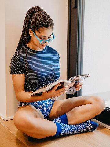 Výprodej Veselé dámské kalhotky Modrotisk