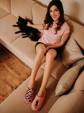 Tip na darček Vrolijke slippers Roze katten