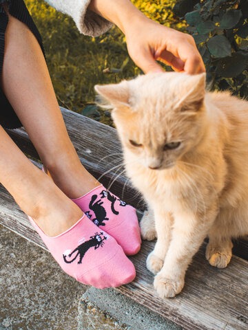 Hľadáte originálny a nezvyčajný darček? Obdarovaného zaručene prekvapí Wesołe krótkie skarpetki Różowe koty