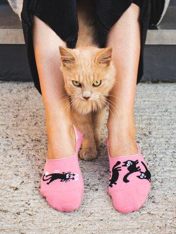Wyprzedaż Wesołe krótkie skarpetki Różowe koty