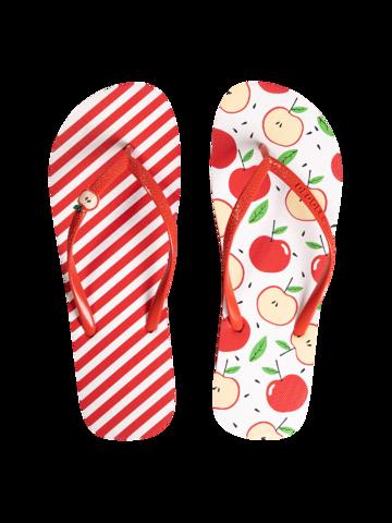 für ein vollkommenes und originelles Outfit Lustige Flip-Flops mit Verzierung Fröhlicher Apfel