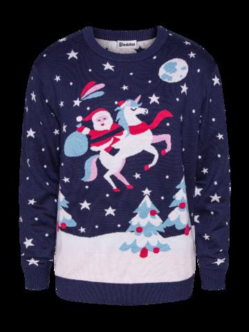 Cadou original de la Dedoles Pulover Vesel de Crăciun Moș Crăciun și Unicorn