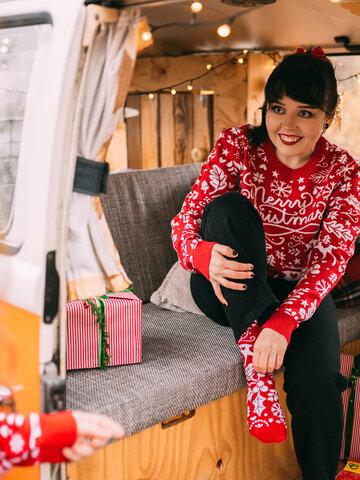 Suchen Sie ein originelles und außergewöhliches Geschenk? überrascht den Beschenkten sicher Lustiger Weihnachtspullover Frohe Weihnachten