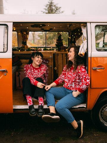 Foto Lustiger Weihnachtspullover Frohe Weihnachten