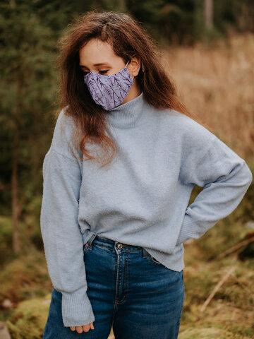 Výnimočný darček od Dedoles Vrolijke antibacterieel mondkapje Lavendel - grote maat