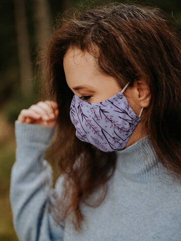 Tip na darček Vrolijke antibacterieel mondkapje Lavendel - grote maat