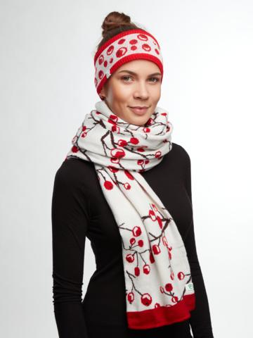 Výjimečný dárek od Dedoles Veselý dámský pletený šál Zimní bobule