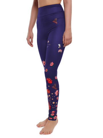 Lifestyle photo High Waisted Leggings Flowers and Butterflies