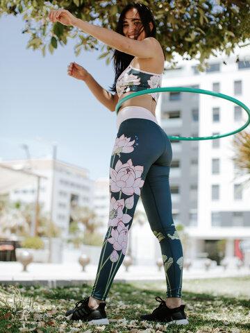 Foto Lustige Training-Leggings Rosa Lotus