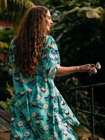 Výpredaj Veselé košeľové šaty Kokosový orech