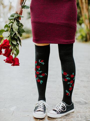 Căutați cadou unic și original? Va bucura enorm sărbătoritul Șosete peste Genunchi Vesele Trandafiri Sălbatici