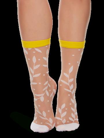 Obrázok produktu Veselé silonkové ponožky Biele listy