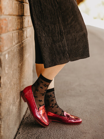 Obrázok produktu Vrolijke nylon sokken Zwarte sterren