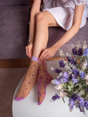 Výprodej Veselé silonkové ponožky Levandule