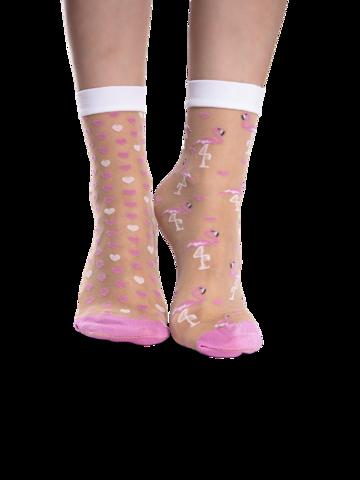 Eredeti és szokatlan ajándékot keres? a megajándékozottat garantáltan meglepi Vidám nylon zokni Szívecskék és flamingók