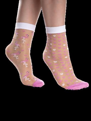 Kiárusítás Vidám nylon zokni Szívecskék és flamingók