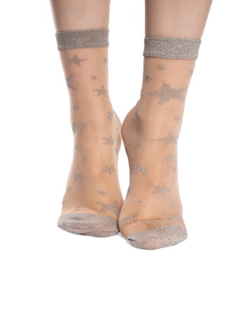 Lifestyle foto Veselé silonkové ponožky Strieborné hviezdy
