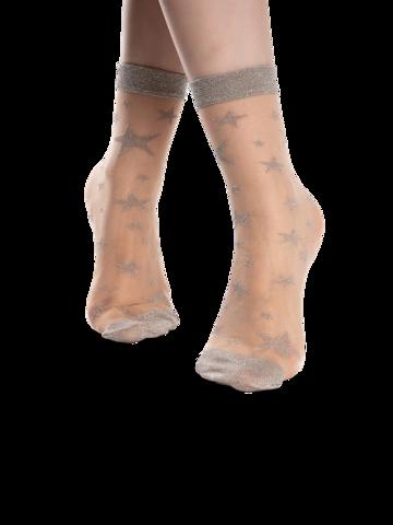Výnimočný darček od Dedoles Veselé silonkové ponožky Strieborné hviezdy