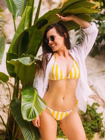 Sale Triangle Bikini Top Sunny Sunflower