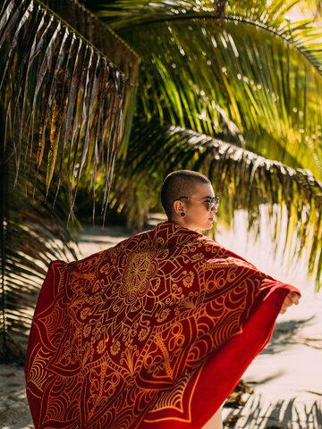 Obrázok produktu Živahna okrogla brisača za plažo Mandala