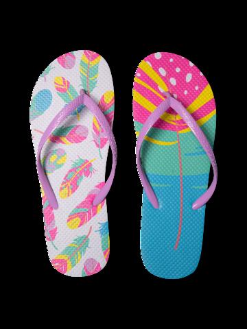 Gift idea Flip Flops Colourful Feathers