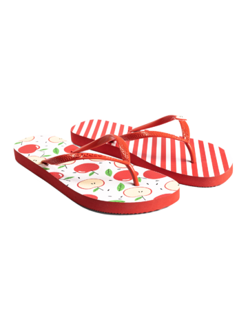 Suchen Sie ein originelles und außergewöhliches Geschenk? überrascht den Beschenkten sicher Lustige Flip-Flops mit Verzierung Fröhlicher Apfel