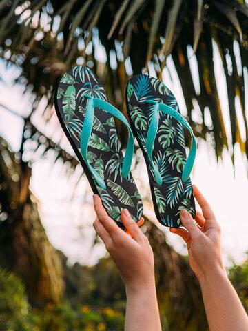 Lichidare de stoc Șlapi Veseli Frunze tropicale