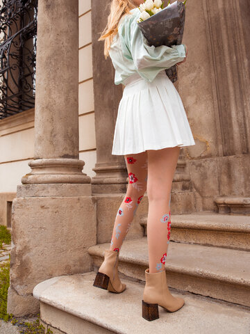 Gift idea Nylon Tights Blue & Red Flowers