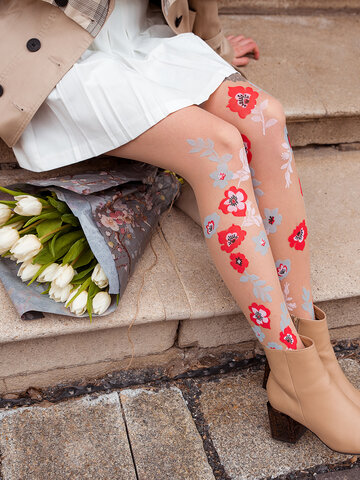 Original gift Nylon Tights Blue & Red Flowers