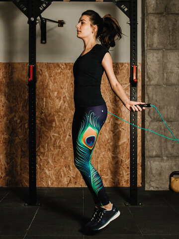 Sale High Waisted Leggings Peacock Feathers
