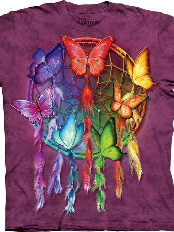 für ein vollkommenes und originelles Outfit Kinder T-Shirt Regenbogen-Traumfänger mit Schmetterlingen