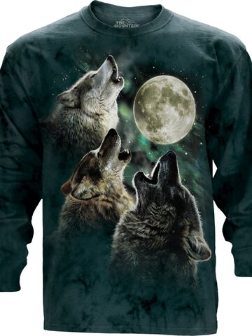 Výnimočný darček od Dedoles Dlhý rukáv Tri vlky vyjúce na mesiac