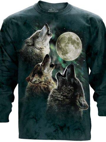 Výpredaj Dlhý rukáv Tri vlky vyjúce na mesiac