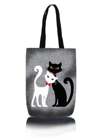 Potěšte se tímto kouskem Dedoles Taška na rameno Shop - Černá a bílá kočka