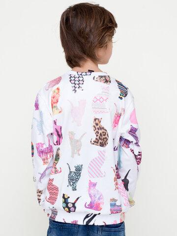 Zľava Otroški pulover brez kapuce Vzorčaste mačke