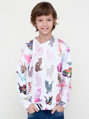 Pre dokonalý a originálny outfit Otroški pulover brez kapuce Vzorčaste mačke