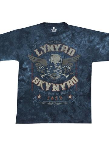 Hledáte originální a neobvyklý dárek? Obdarovaného zaručeně překvapí Modré batikované hudební tričko Lynyrd Skynyrd Gimme back my bullets