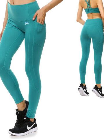 Pomysły na prezenty Turkusowe damskie sportowe legginsy z kieszonką