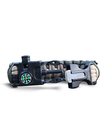 Rabatt Paracord Survival Armband mit Feuerschläger, Kompass und Pfeife
