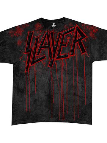 Potešte sa týmto kúskom Dedoles Šedé batikované hudobné tričko Slayer Raining blood