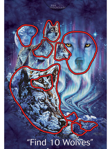 Tip na darček Tričko Nájdi 10 vlkov