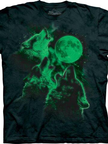 Eredeti ajándék a Dedolestől Három Holdra vonyító farkas világító póló