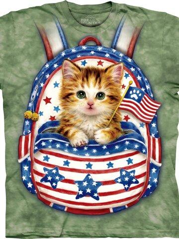 für ein vollkommenes und originelles Outfit Kinder T-Shirt Kätzchen in patriotischem Sack